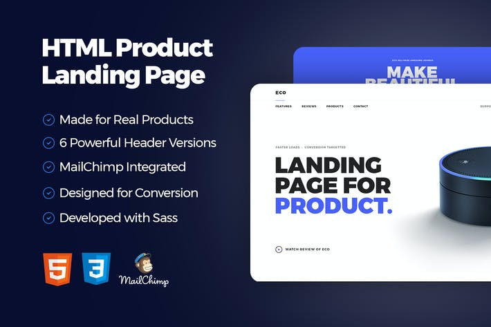 Cover Image For Eco - HTML Product Landing Page