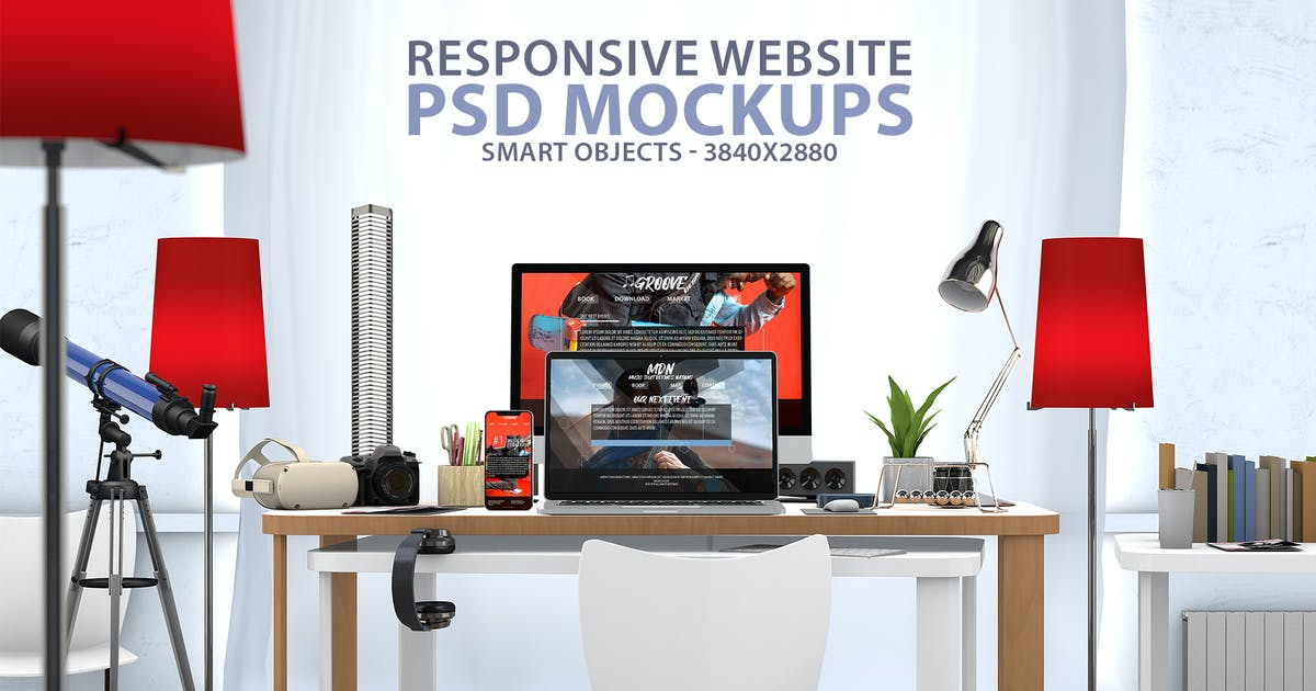 Download Responsive Website PSD Mock-up Desk by Abdelrahman_El-masry
