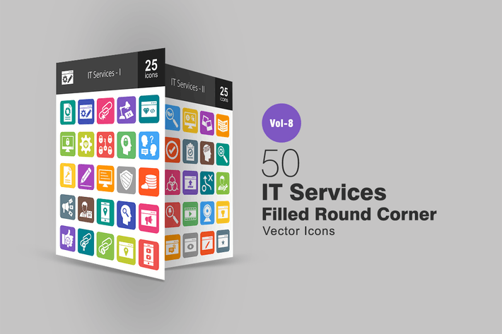 Thumbnail for 50 IT Services Filled Round Corner Icons