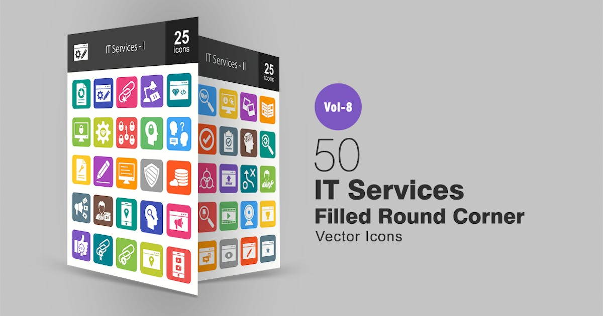 Download 50 IT Services Filled Round Corner Icons by IconBunny