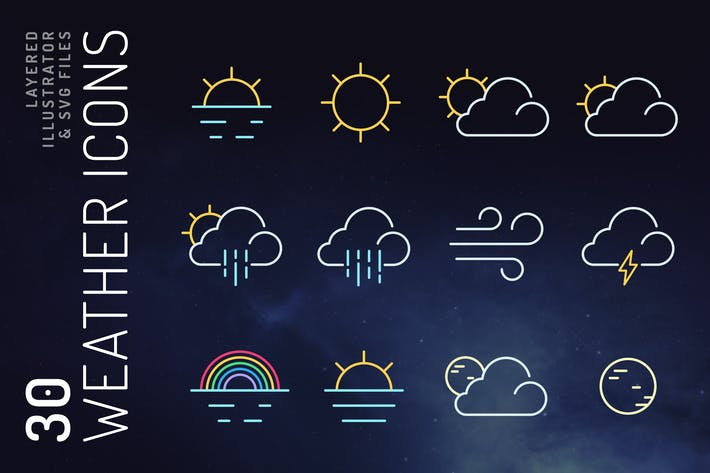 Thumbnail for Weather icon set
