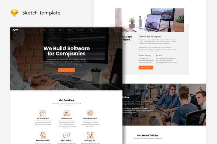 Thumbnail for Layers - Software Development Company Website UI