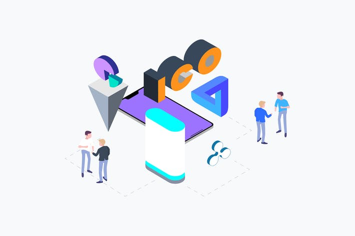 Cover Image For ICO Concept Isometric Illustration