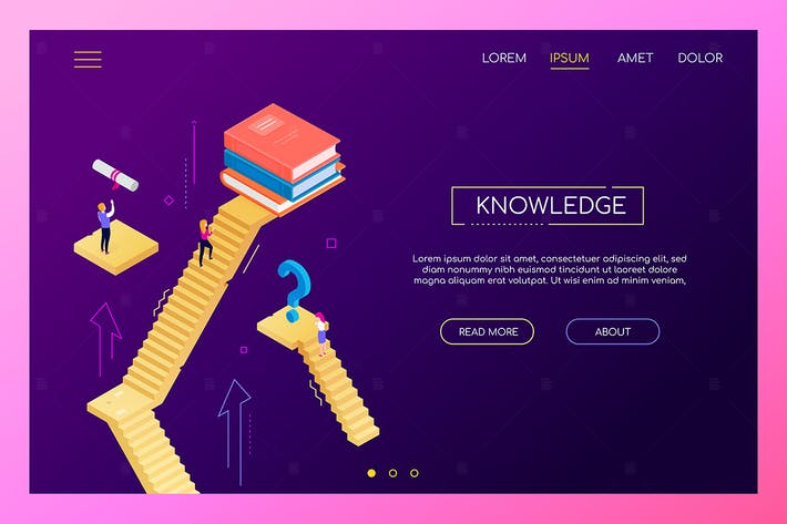 Knowledge concept - modern isometric web banner