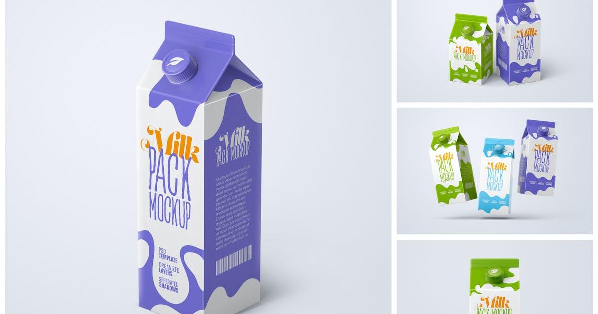 Download Milk Carton Box Mockup Set | Packaging Design by deeplabstudio