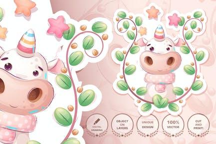 Infantil personaje de dibujos animados unicornio mágico