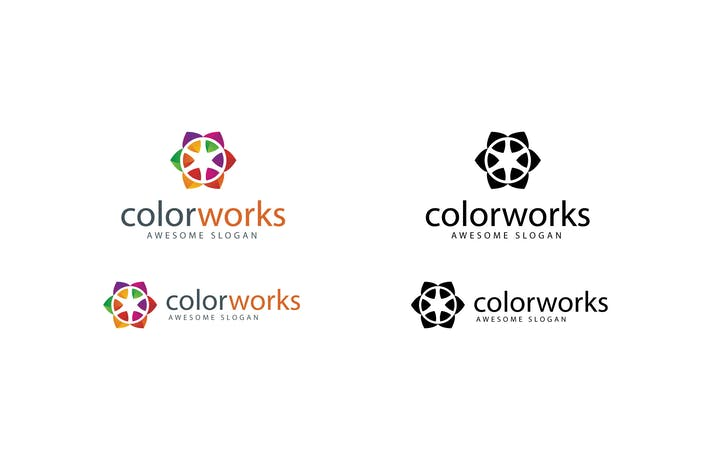 Thumbnail for Color Works Logo Template