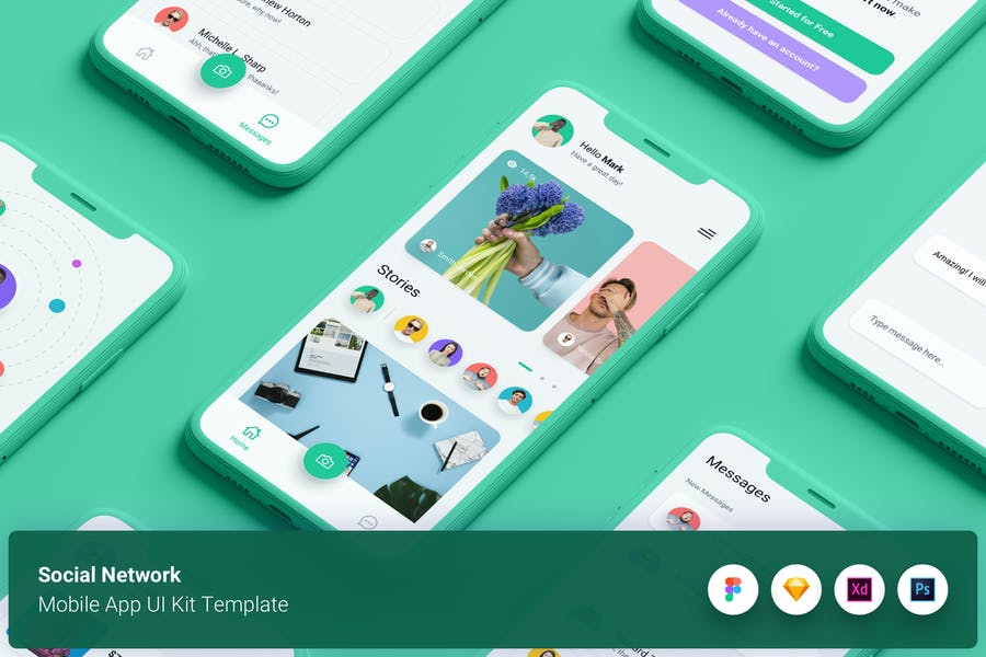 Social Network Mobile App UI Kit Template