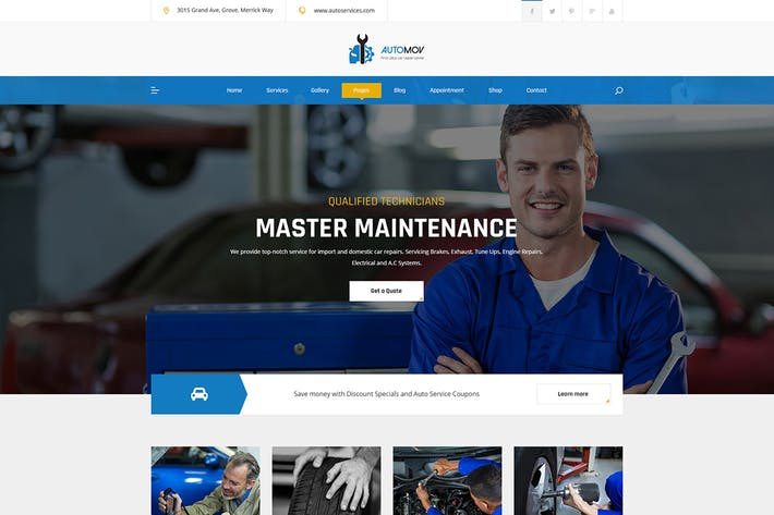 Thumbnail for Automov - Car Repair, Auto Car Services PSD Templa