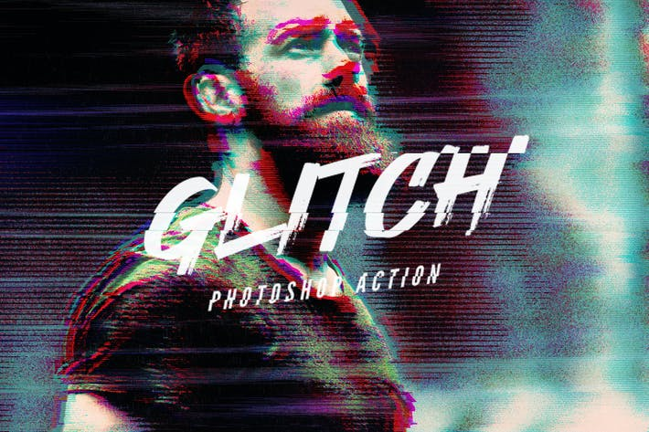 Cover Image For VHS Glitch Photoshop Action