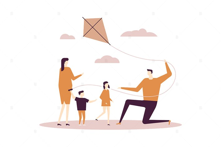 Thumbnail for Family flying a kite - flat design illustration