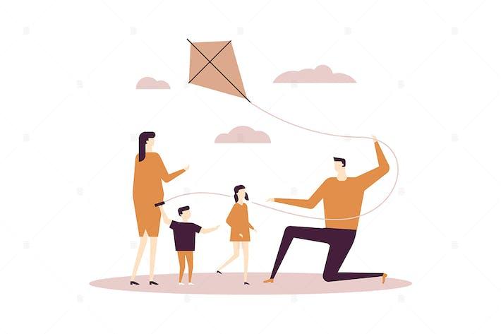 Thumbnail for Familie fliegen einen Drachen - flaches Design Illustration