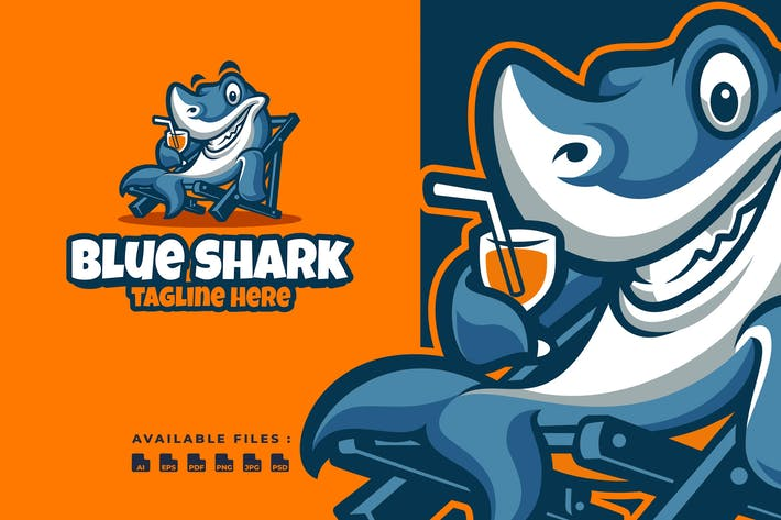 Thumbnail for Blue Shark Cartoon Logo