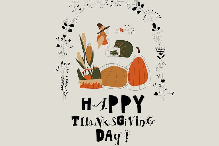 Thumbnail for Funny turkey with harvest in autumn wreath. Vector