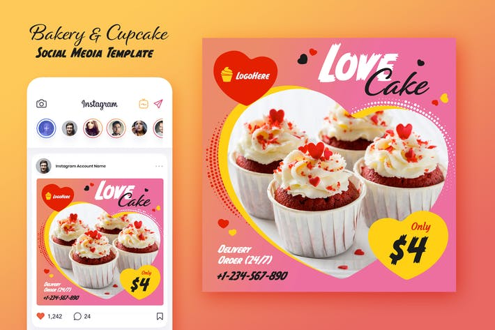 Bakery and Cupcake Social Media Template