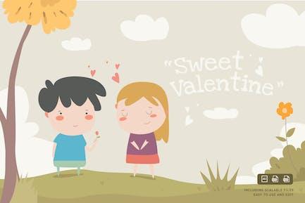 Süßer Valentinstag - IlustrationsVorlage