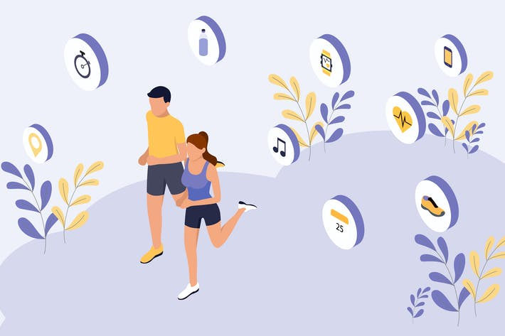 Thumbnail for Smart Workout Isometric Illustration