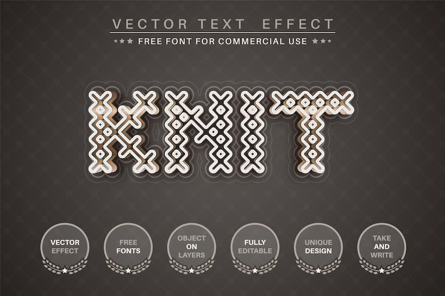 Gold knit -  editable text effect, font style