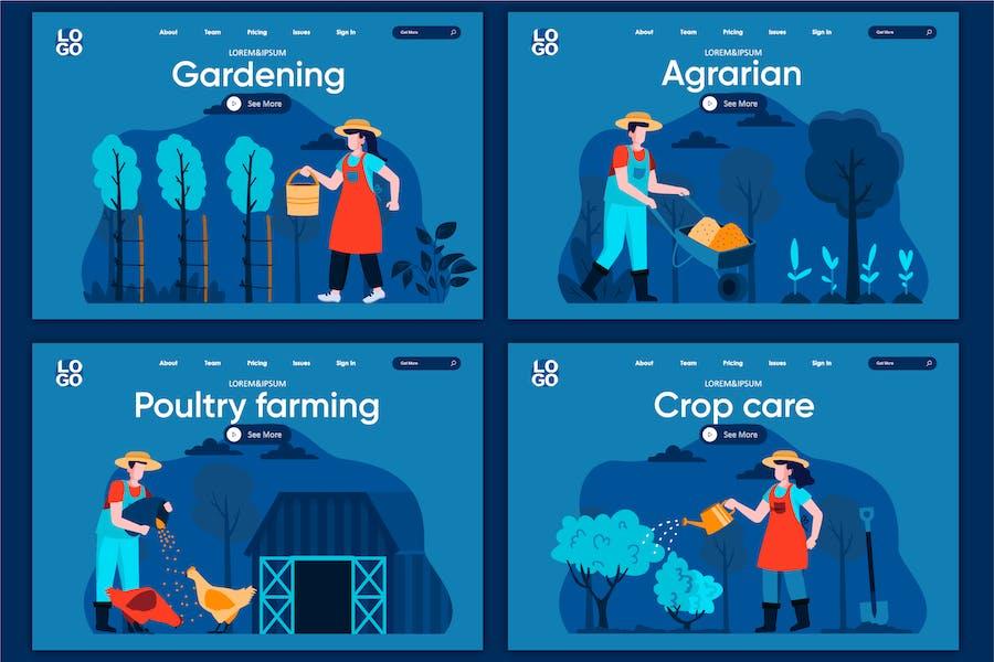 Modèle de page d'accueil Concept d'agriculture naturelle