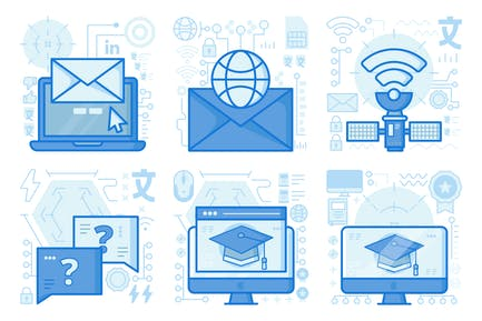 Wireless Satellite UI UX Illustrations