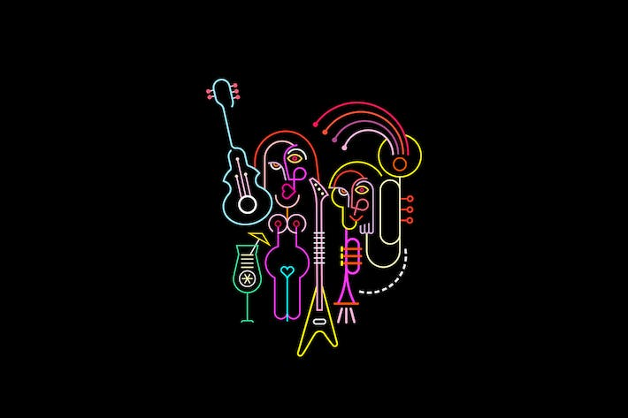 Thumbnail for Two Guitar Players Neon Color Vector Illustration