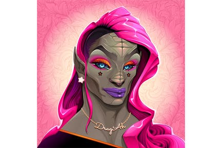 Portrait of Reptilian Drag Queen Called DragAh