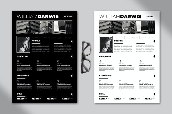 Thumbnail for Bold Resume Template (Black & White)