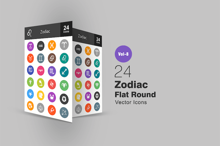 Cover Image For 24 Zodiac Flat Round Icons
