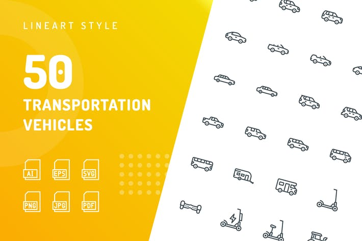 Thumbnail for Transportation Vehicles Line Icons