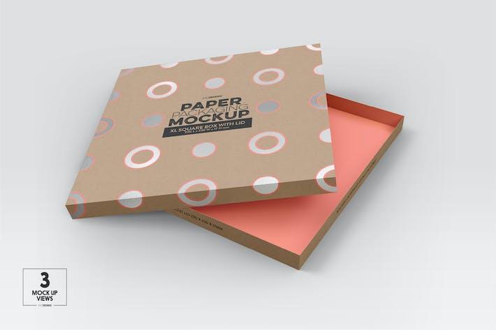 Thumbnail for XL Square Paper Box & Lid Mockup