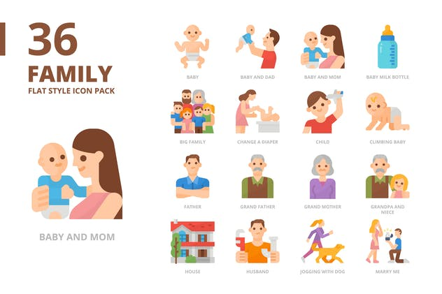 Family Flat Style Icon Set