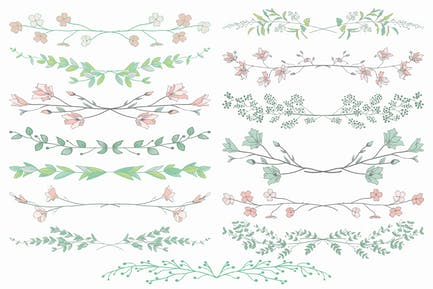 Colorful Hand Drawn Vector  Floral Dividers.