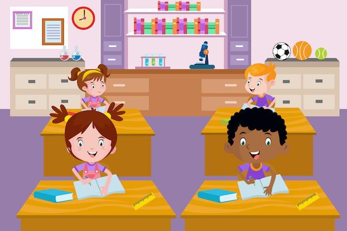 Thumbnail for Kinder lernen in der Schule - Vektor Illustration