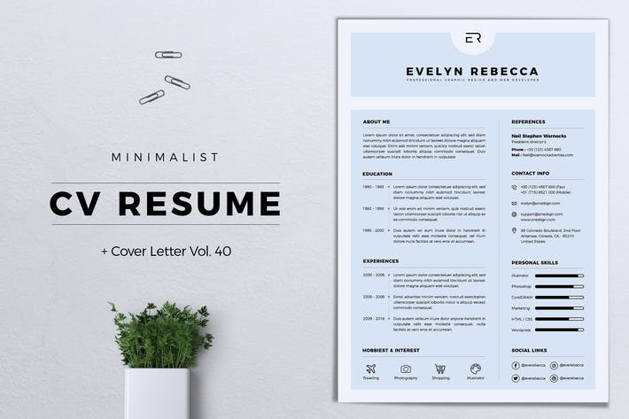 Thumbnail for Minimalist CV Resume Vol. 40