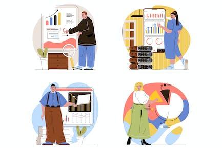 Data Analysis Flat Line Illustrations Set