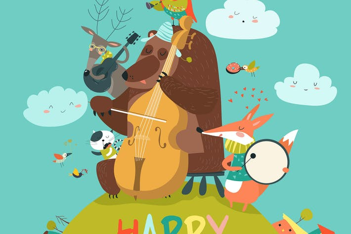 Thumbnail for Vector cute Birthday card with animals and music