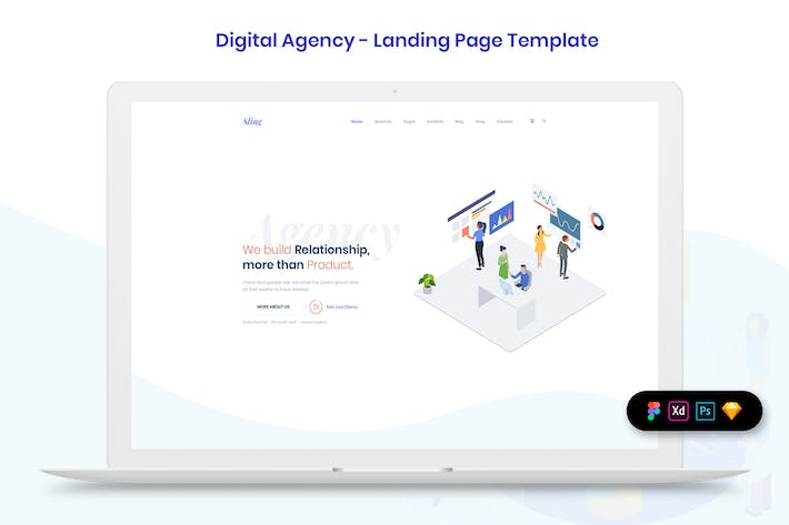 Thumbnail for Digital Agency - Landing Page Template