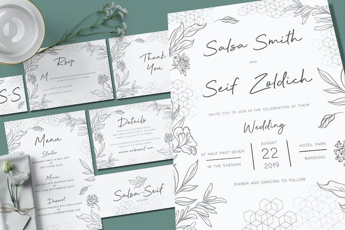 Thumbnail for Geometric Foliage Wedding Invitation