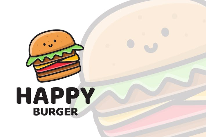 Thumbnail for Happy Burger Cute Logo Template