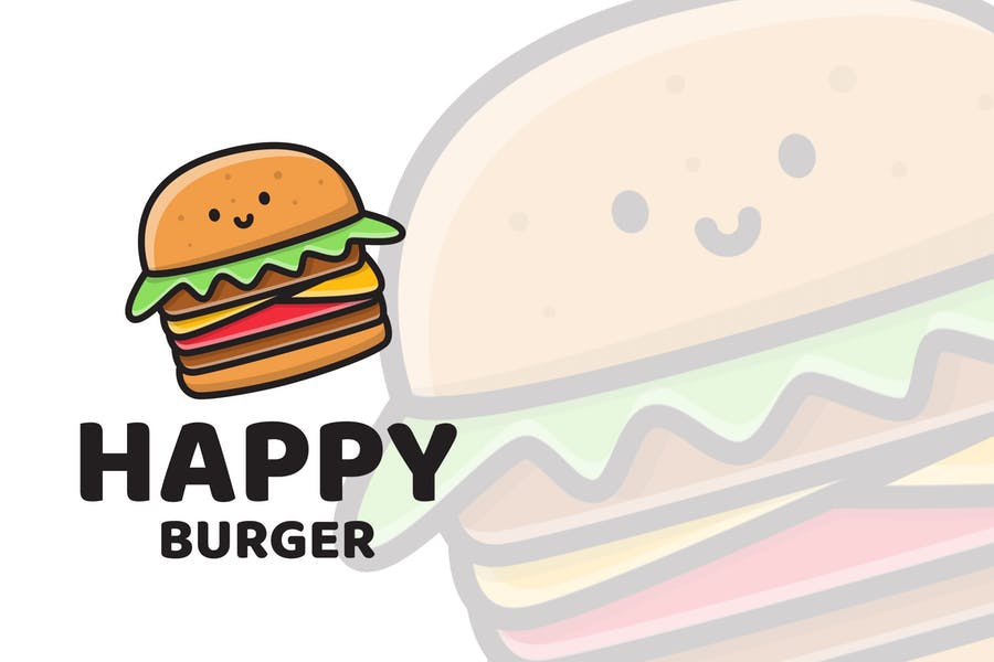 Happy Burger Cute Logo Template - product preview 0