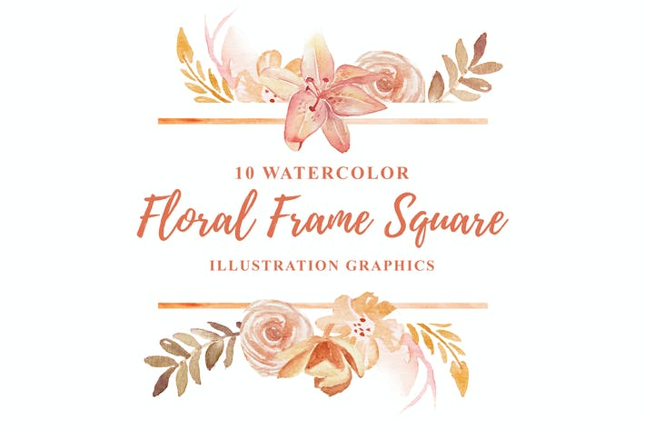 Thumbnail for 10 Watercolor Floral Frame Square Illustration