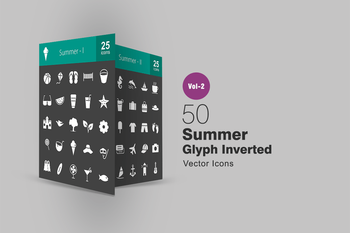 Thumbnail for 50 Summer Glyph Inverted Icons