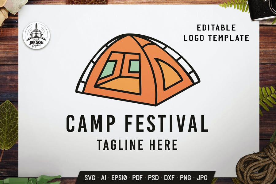 Camping Festival Label Template. Tent Flat Badge