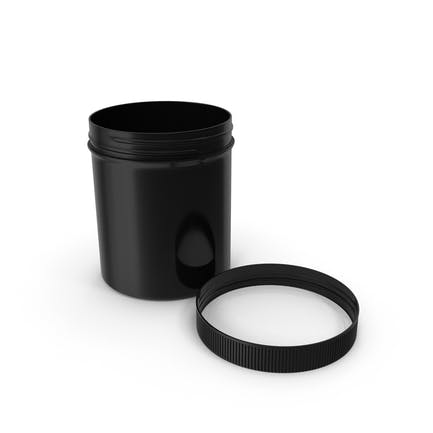 Black Plastic Jar Wide Mouth Straight Sided 16oz Cap Laying