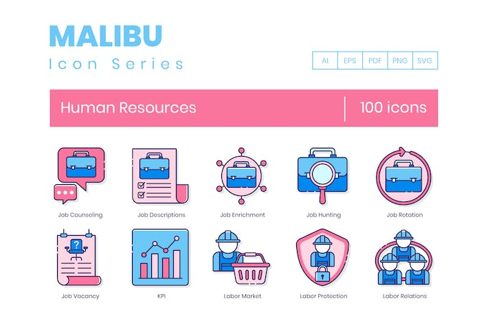 Thumbnail for 100 Human Resources Line Icons