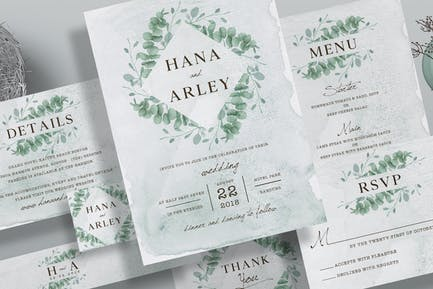 Suite d'invitation de mariage Eucalyptus
