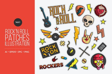 Rock And Roll Vector Patches Vol.1
