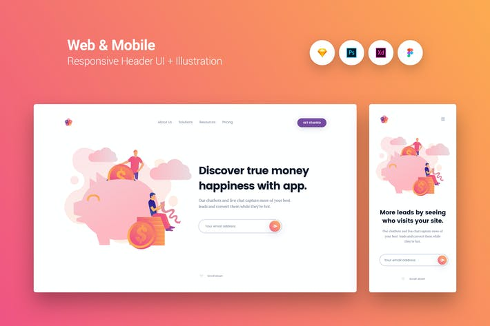 Thumbnail for Web & Mobile Responsive Cover UI + Illustration 10