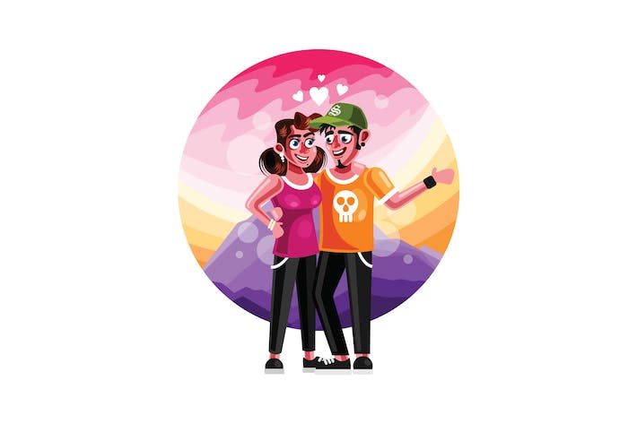 Thumbnail for Couple in Love Illustration Character Illustration