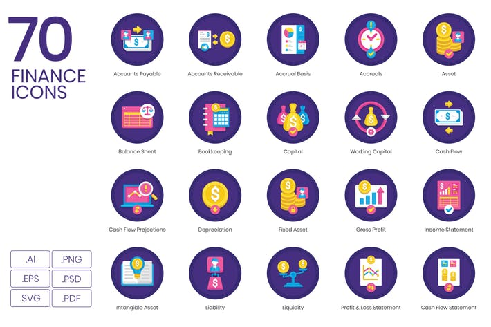 Thumbnail for 70 Finance Flat Icons